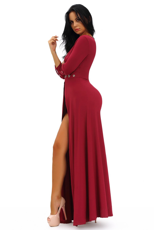 2d0317675f7 Women Burgundy Grommet V Neck Sleeved Romper Maxi Dress Stage Dance ...