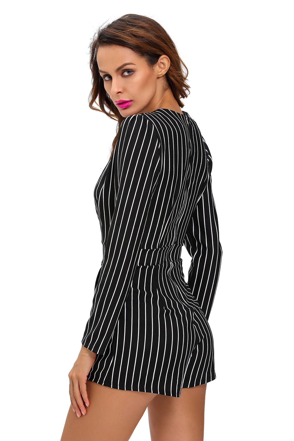 Black dress romper - Women Black Stripes Plunging V Neck Romper Dress
