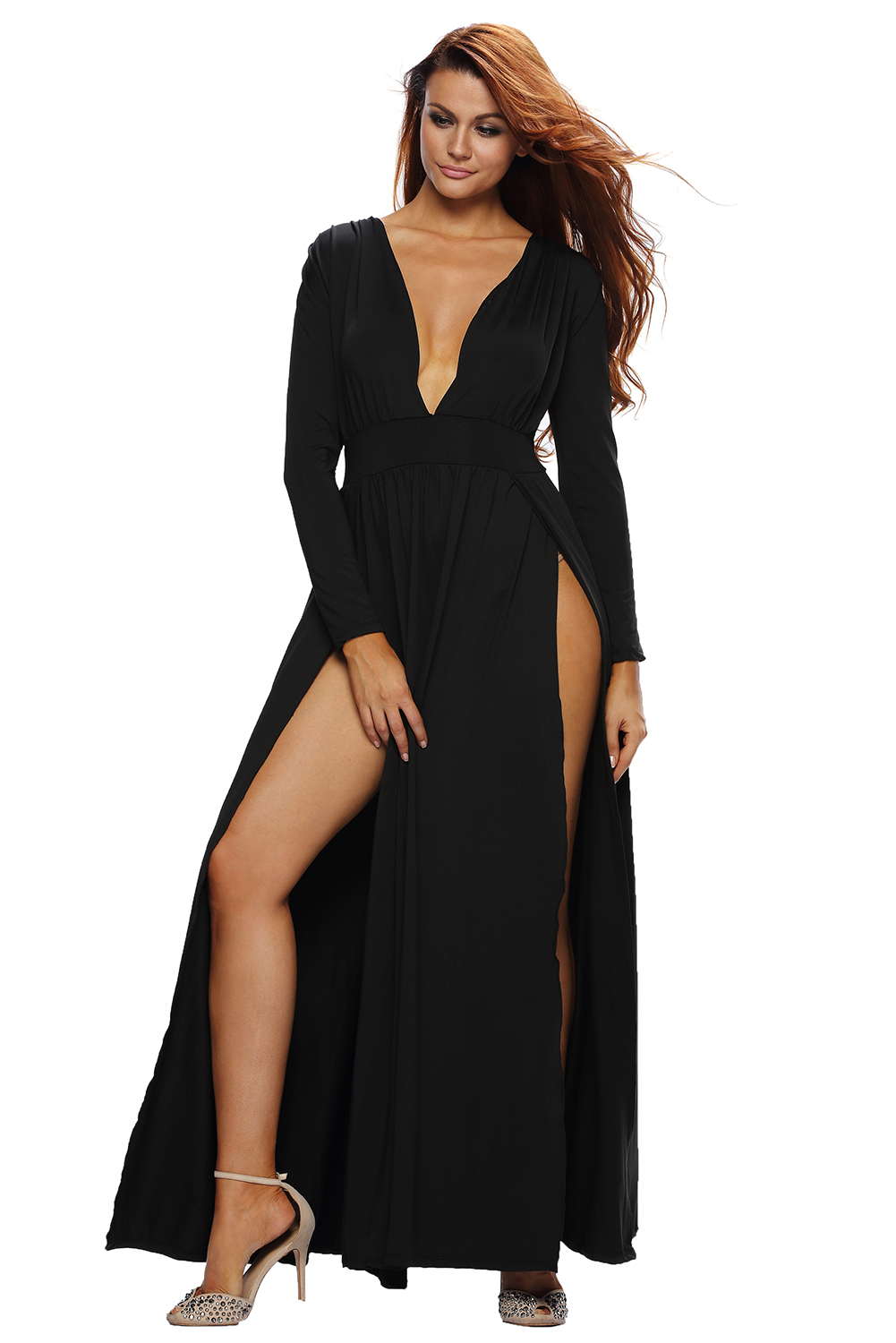 Women Super Classy Long Sleeves Double Slit Maxi Dress Stage Dance ...