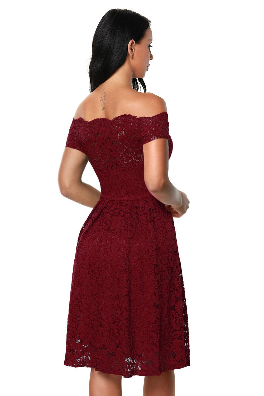 Übergröße Überbacken Aus Schulter Fackeld Spitze Kleid Bühne Tanz Cocktail Kurze
