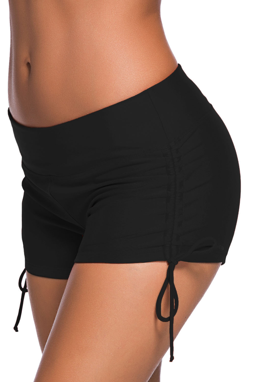Adjustable ties swim bottom shorts summer swimwear womens solid lacing strappy