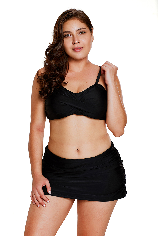 Rosy bandeau bikini 2pcs skirtini swimsuit womens swimwear solid shoulder strap