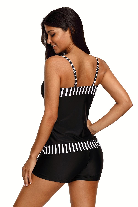 Striped trim black 2pcs tankini bathing suit summer womens patchwork swimwear