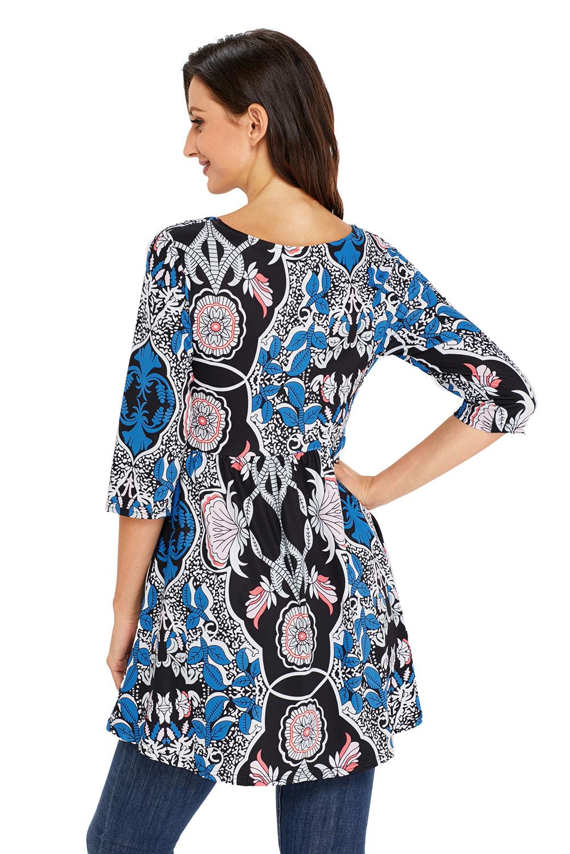 Blau meliertes blatt print weiß elegant lange top damen tunika bluse shirt