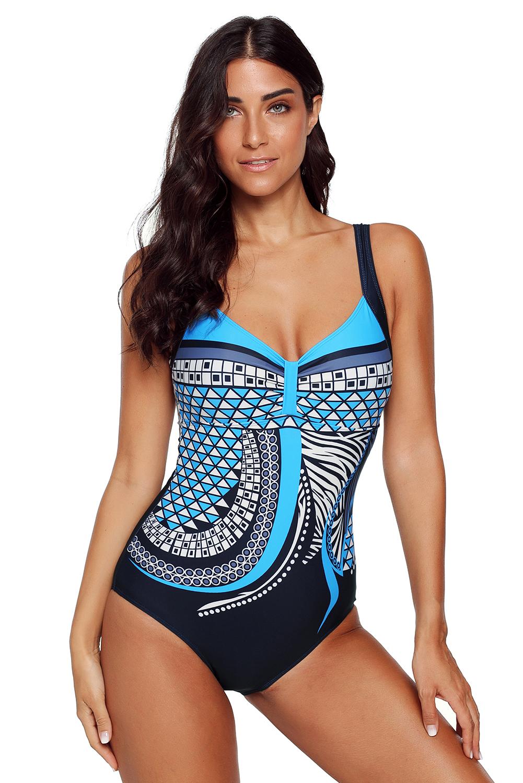 Lila tribal print einteiliger badeanzug damen einteiliger schwimmanzug