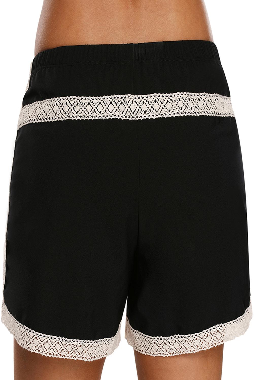 Schwarze spitzenkordel-boardshort damen badeanzug unteren teil bikini