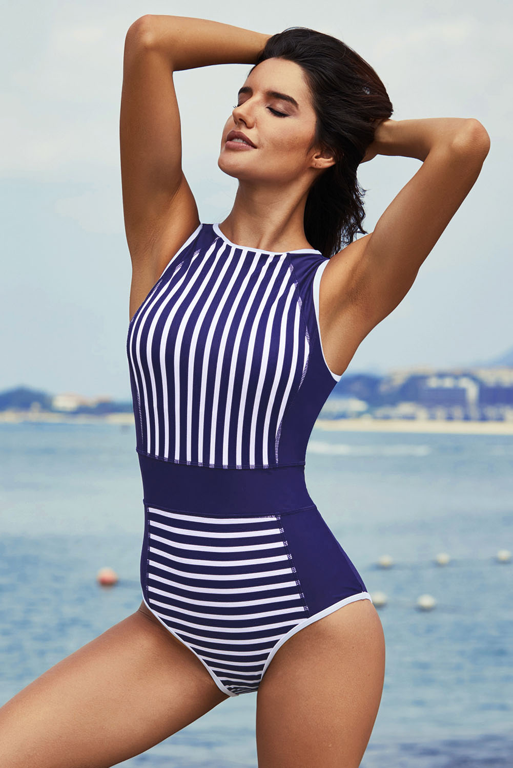 White striped blue women one piece swimsuit swimming pool summer swimwear women