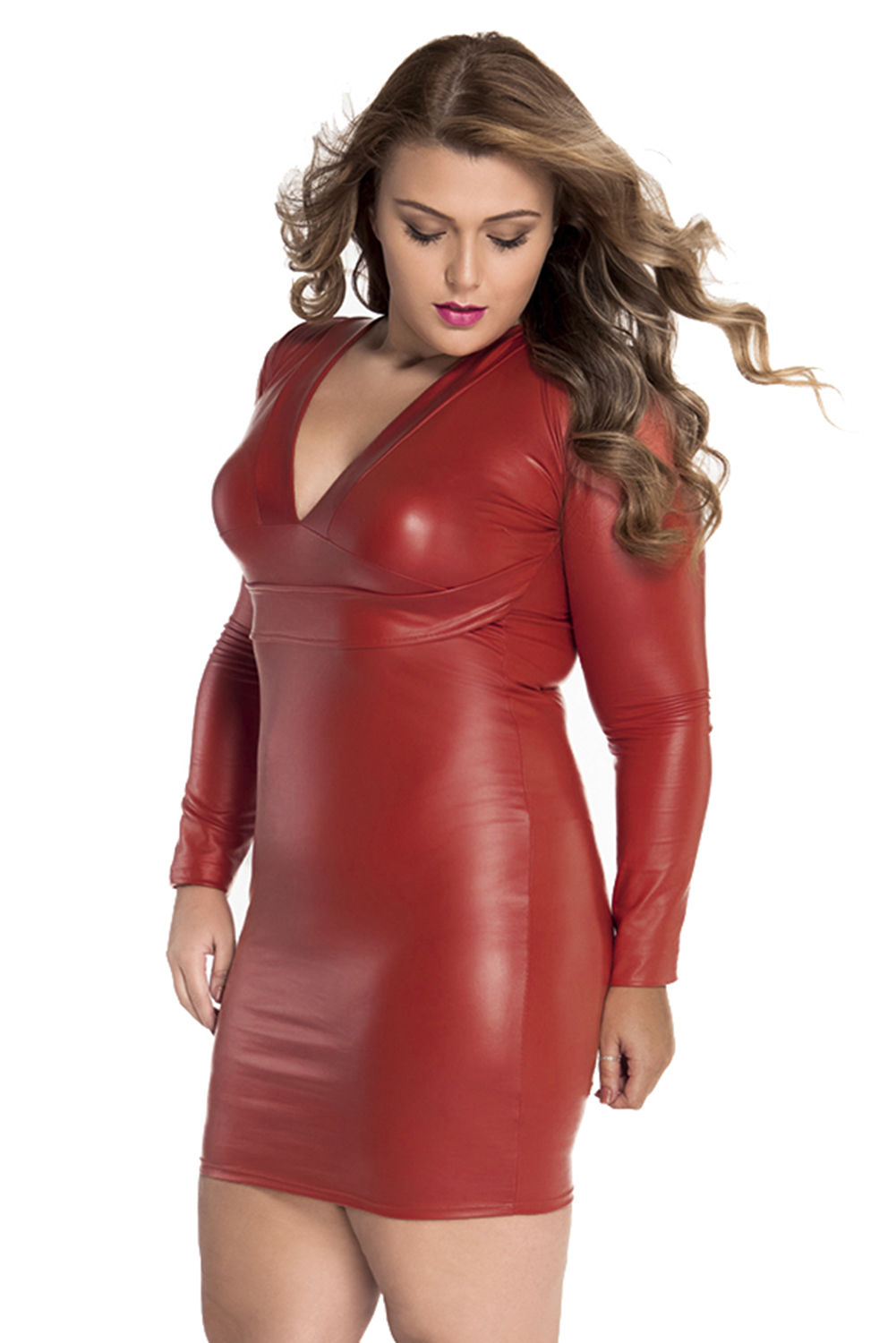 Women Red Plunging Long-sleeve Leather Dress Casual Brief