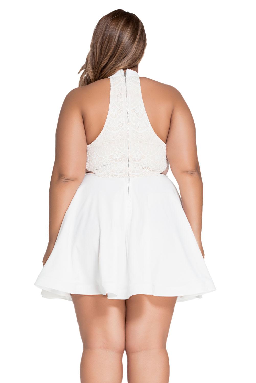 Lace Nude Irregular Layered Skater Dress Exotic Apparel