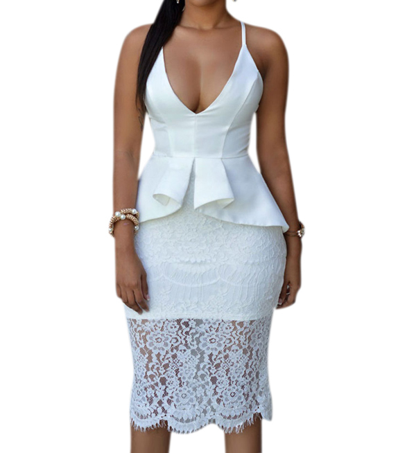Women-Crossover-Straps-Floral-Lace-Overlay-Peplum-Dress-Backless-Stage-Sexy-Zip