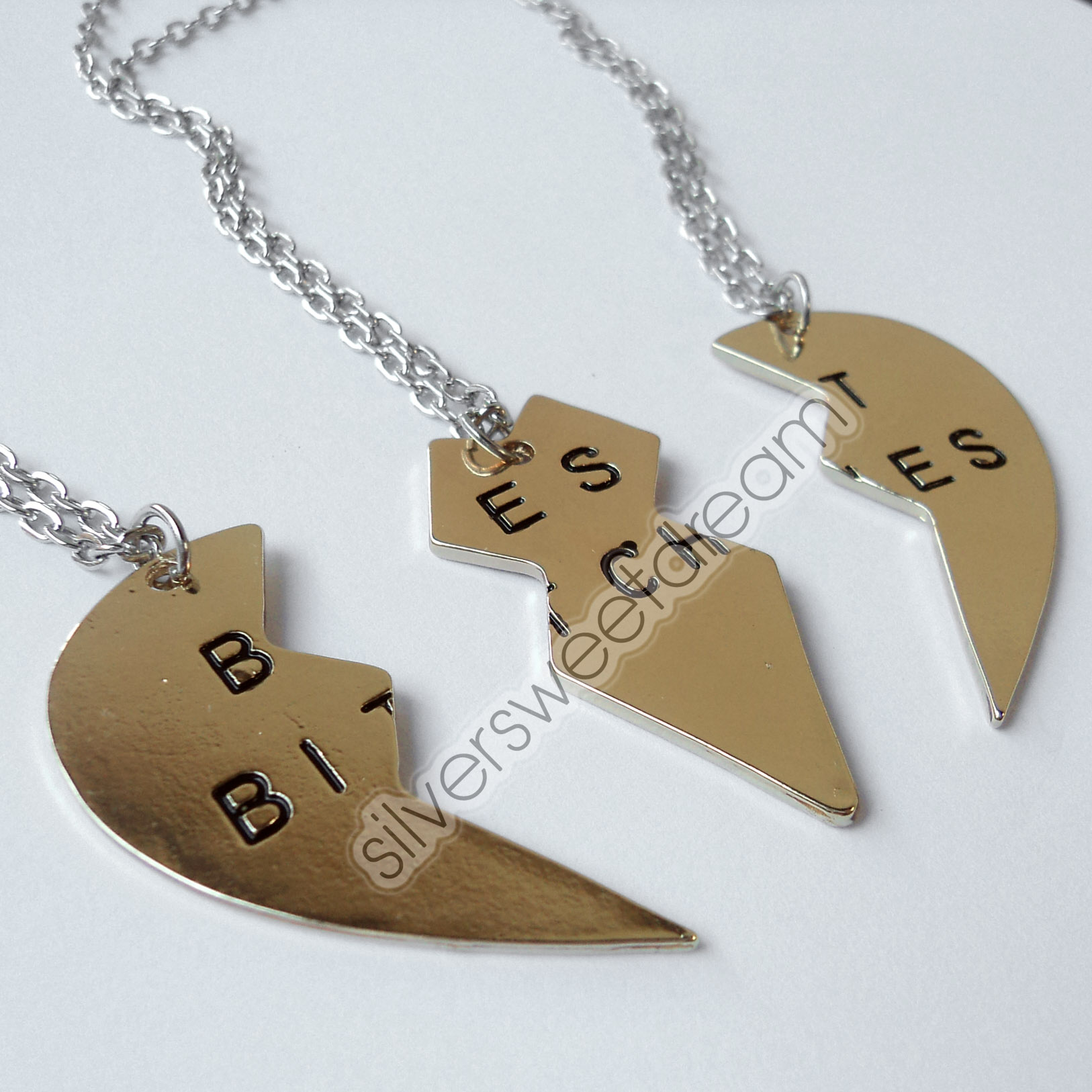 BEST BITCHES Pendant Necklace friends love friendship split broken ...