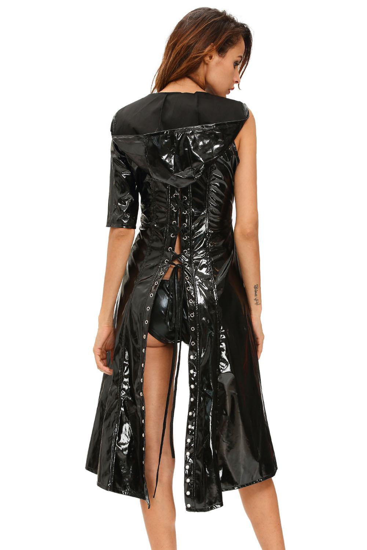 Women-Black-Gothic-Punk-Wetlook-Sweet-Pea-Hooded-Coat-Gown-Dress-Stage-Dance