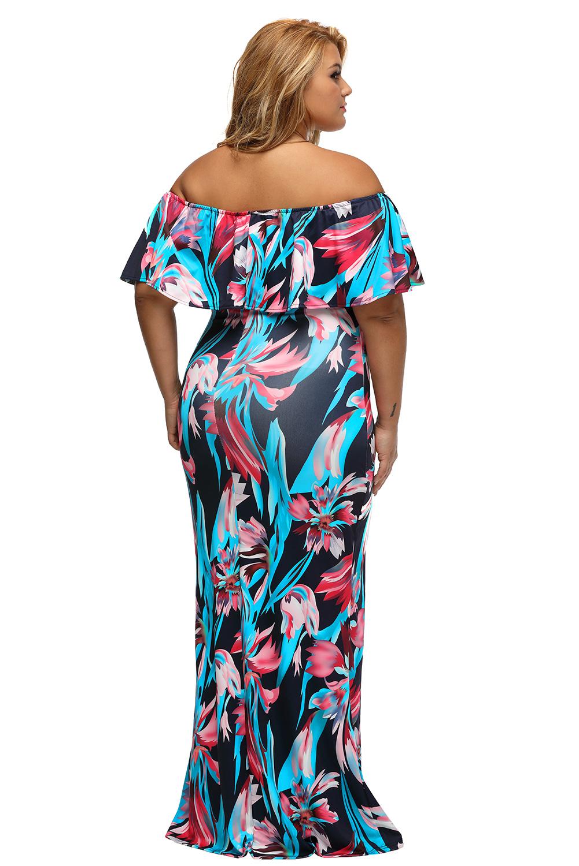 Print Off-the-shoulder Maxi Dress Stage Dance Wear Women Bandeau ... af1ddff70