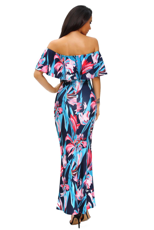 fda277b130 Women Print Off-the-shoulder Maxi Dress Stage Dance Wear Brief Cute ...