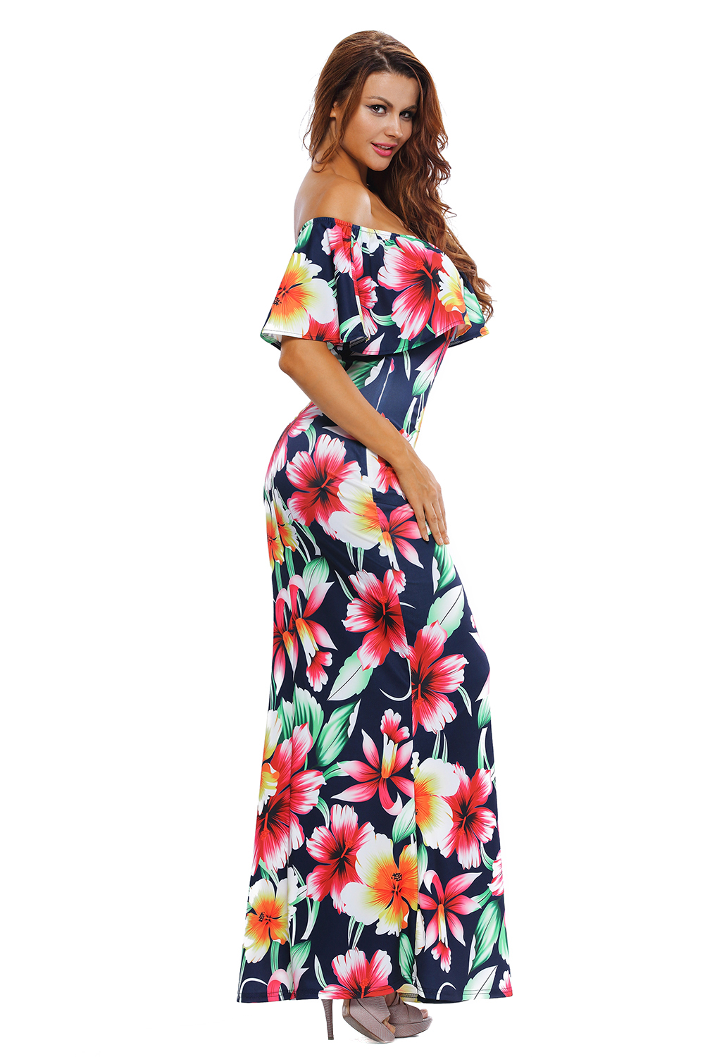 e0ebf34f7fc Details about Print Off-the-shoulder Maxi Dress Stage Dance Wear Women  Brief Cute Club Sexy