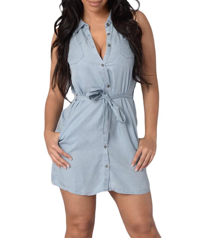 1faf351535d Women Dark Wash Belted Denim Shirt Dress Casual Cute Summer Solid V ...