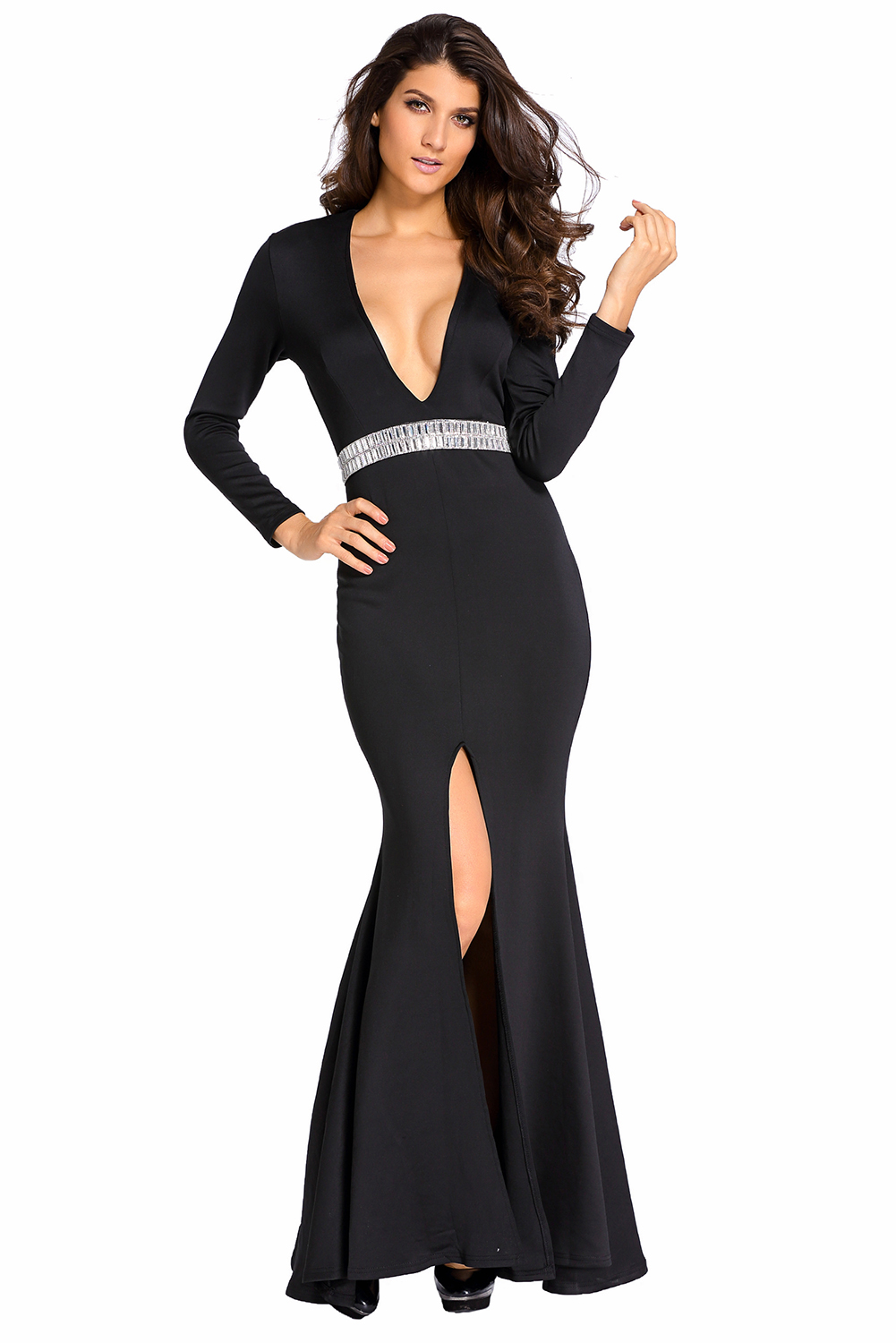 Black Gown With Silver Shoes
