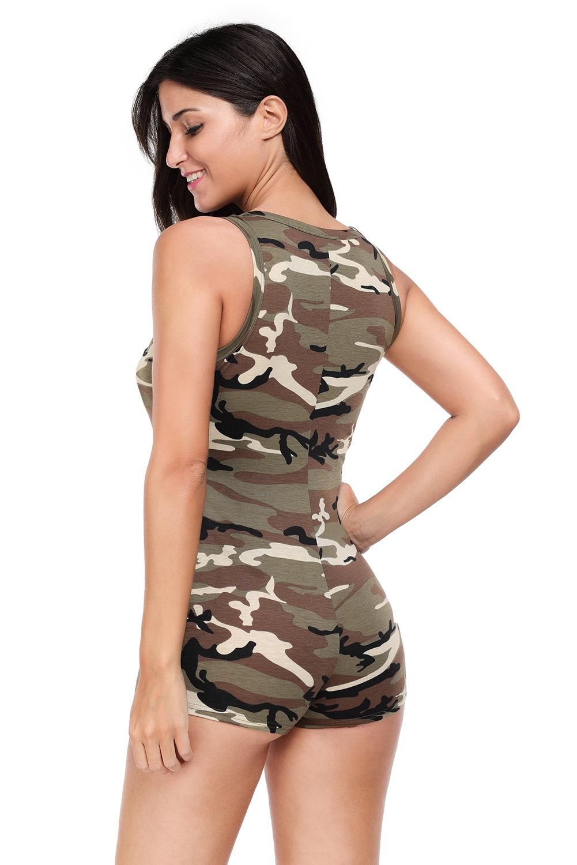 5286d00bd9b9 Sexy v-neck sleeveless camouflage playsuit shorts bodysuit women ...