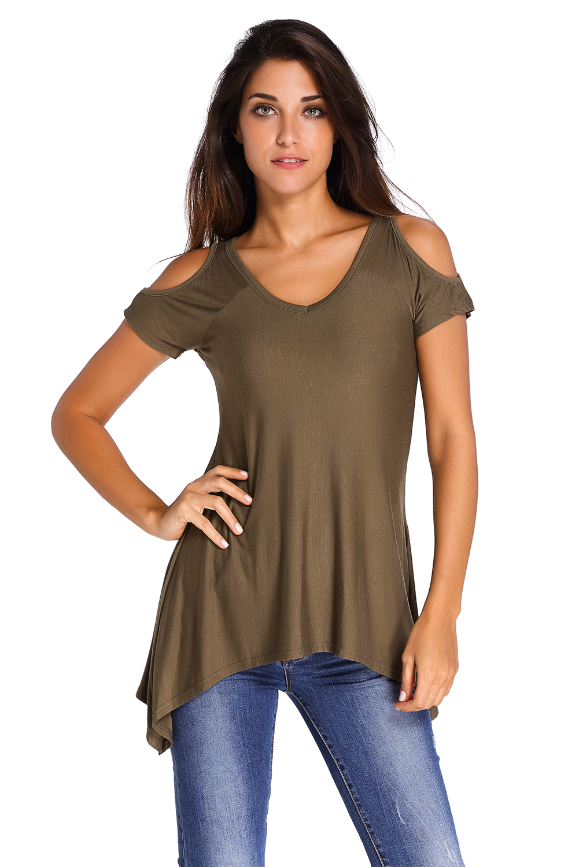 v hals kalt schulter swing top damen shirt sommer kurze niedlich solid ebay. Black Bedroom Furniture Sets. Home Design Ideas