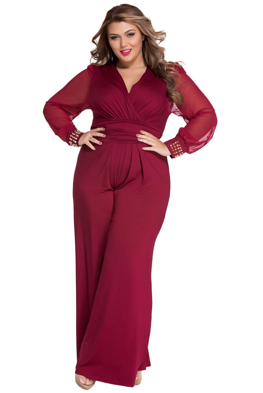 bfae98456e2 Women Embellished Cuffs Long Mesh Sleeves Jumpsuit Dress Casual ...