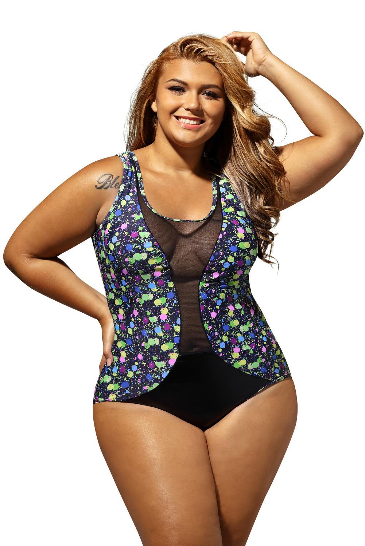 women sheer mesh insert stunning printed plus size monokini summer