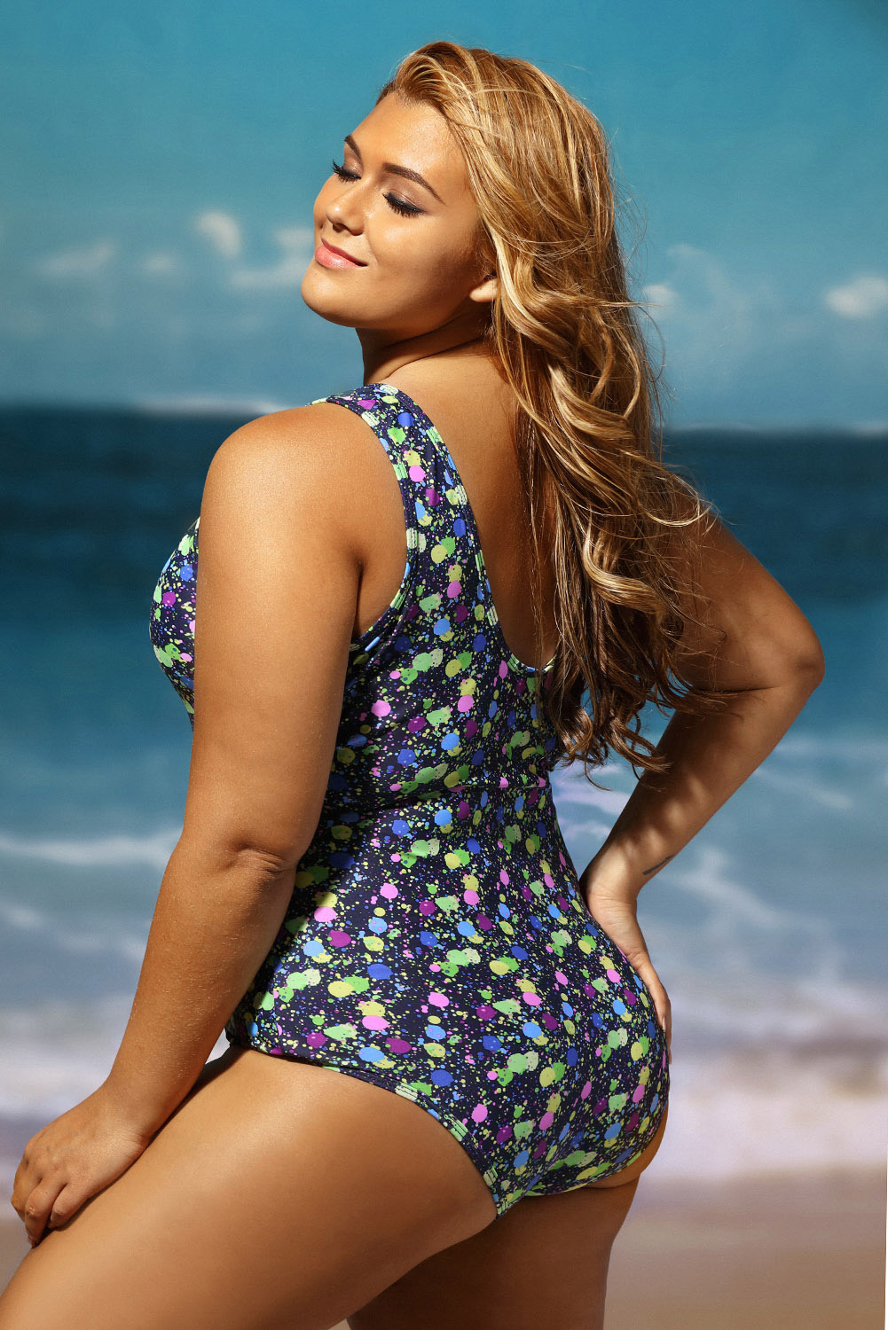 4fa24a5324 Sheer mesh insert stunning printed plus size monokini swimming pool ...