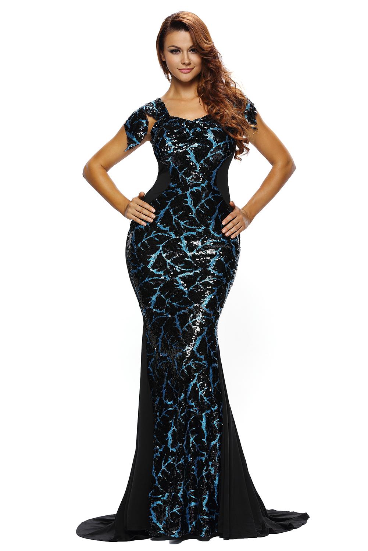 Black Sequin Embellishment Elegant Mermaid Evening Gown Celebrity ... 7f0f1c1e4
