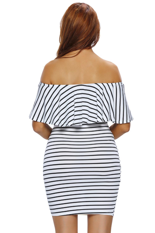 2b765a040ae Women White Black Striped Off-shoulder Bodycon Dress Stage Dance ...