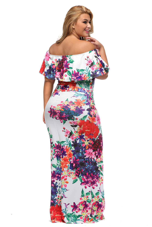 8fa17903352 Details about Women Multi-color Floral Print Off-the-shoulder Maxi Dress  Stage Dance Cute