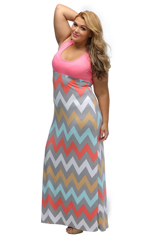 dd72605076 Women Plus Size Light Blue Top Multicolor Zigzag Maxi Dress Stage ...