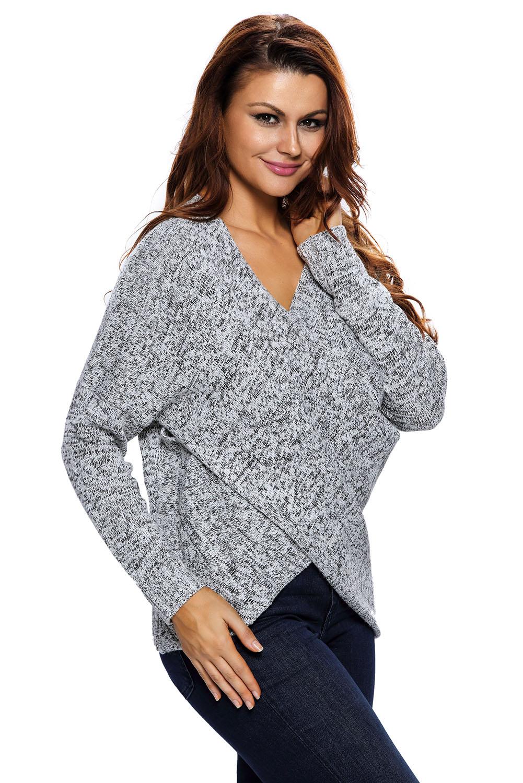 Long-sleeve-chunky-cross-wrap-v-neck-tunic-pullover-sweater-womens-jumper-cute thumbnail 15