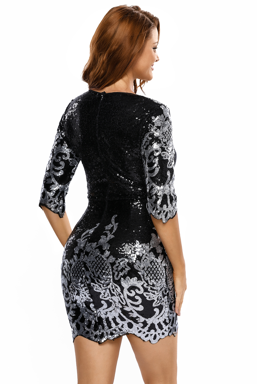 Women Black Victorian Silver Sequins 3 4 Sleeves Bodycon Dress Long ... 8de17e4e62