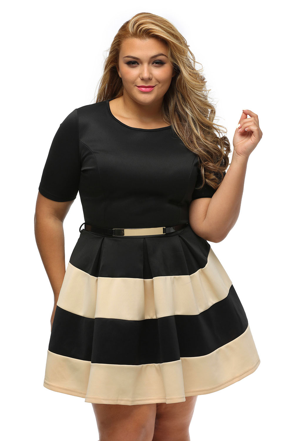2825fafb75b Women Stripes Detail Belted Plus Size Skater Dress Stage Dance Brief ...