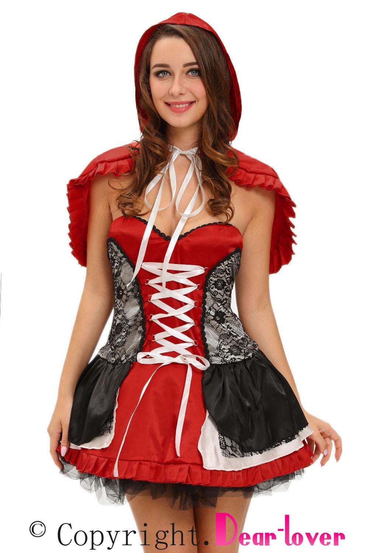 Women-Sweet-Little-Riding-Hood-Costume-Dress-Fairy-Tales-Stage-Dance-Cute-Zip