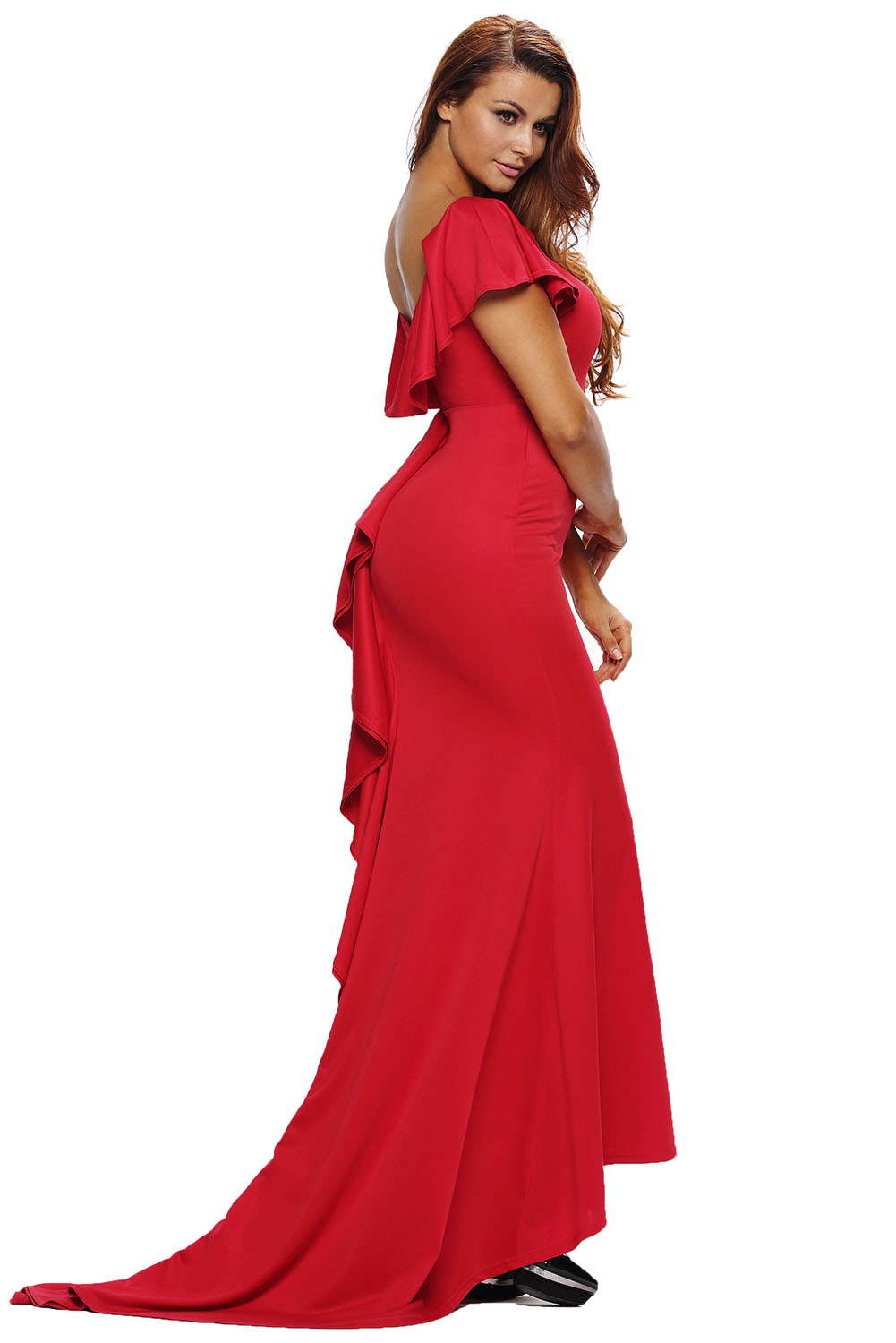 Women Gorgeous Ruffle Accent Hot Red Party Gown Dress Stage Dance ...