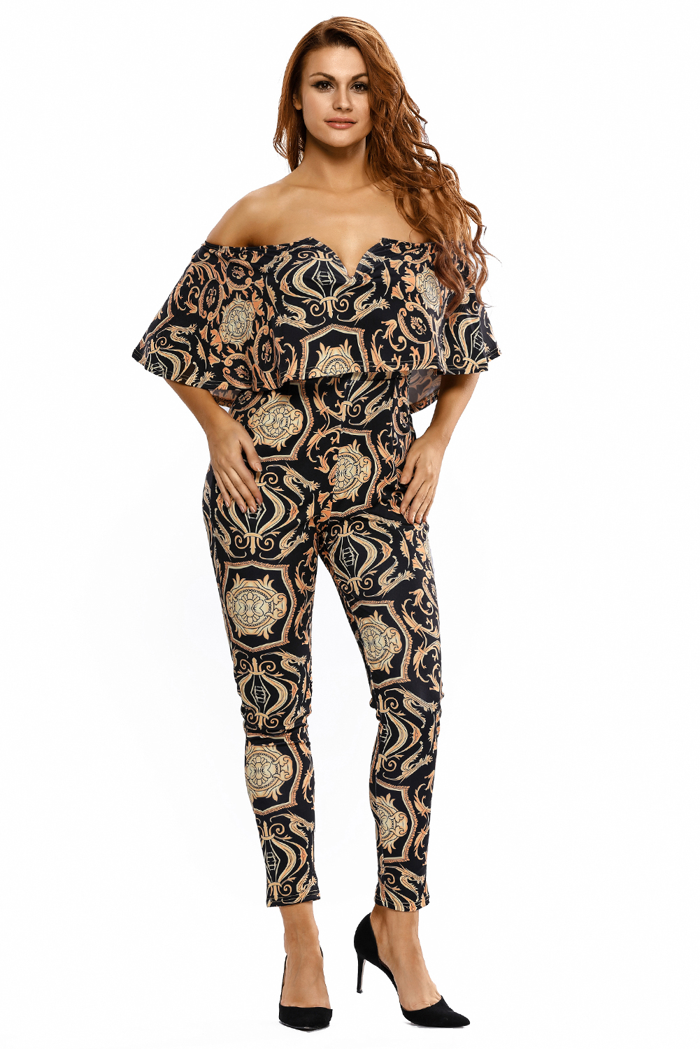 Black-yellow-tapestry-print-belted-jumpsuit-stage-dance-wear-women-autumn-brief