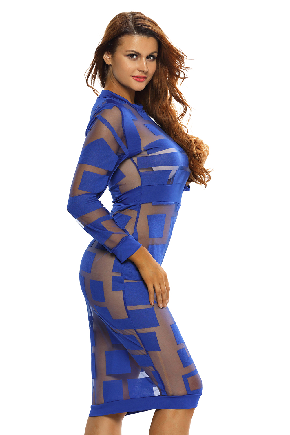 bf22475a1 women royal blue sheer mesh long sleeve dress little black stage o .