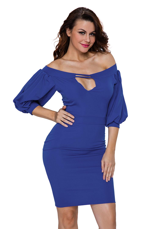 e1ebfc09bc6c Puffs peep hole off shoulder midi bodycon dress long sleeve women ...