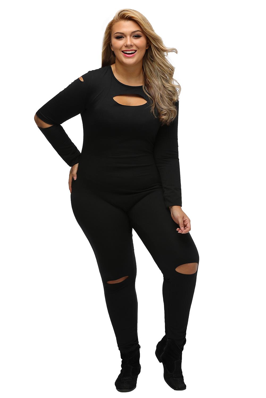 Women Black Plus Size Slit Long Sleeve Jumpsuit Dress Stage Dance
