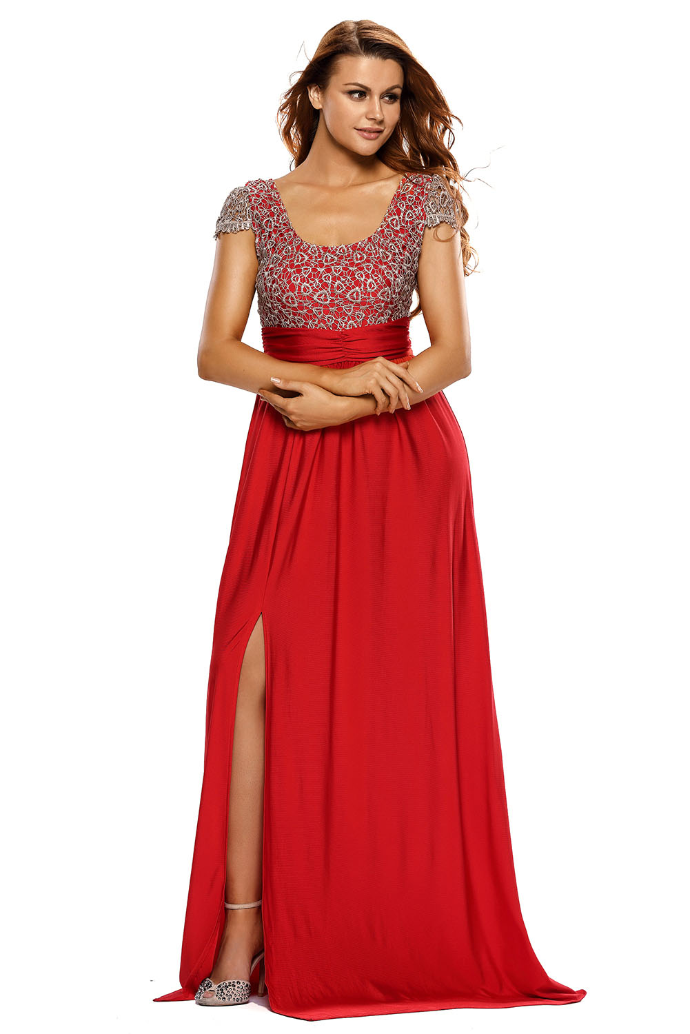 Women Amazing Gold Lace Overlay Slit Maxi Evening Gown Dress Stage ...