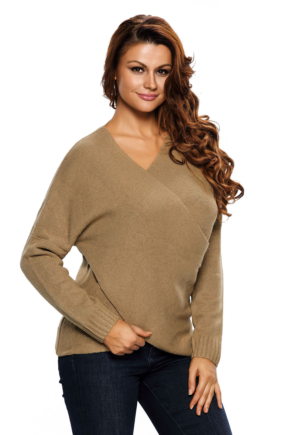 Women Long Sleeve Chunky Cross Wrap V Neck Tunic Pullover Sweater ...