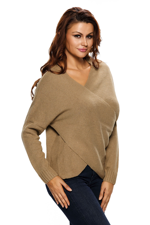 Long-sleeve-chunky-cross-wrap-v-neck-tunic-pullover-sweater-womens-jumper-cute thumbnail 8