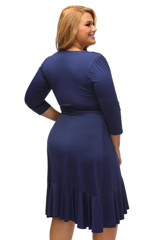 Whimsy wrap flounce plus size dress stage dance wear women knee ...