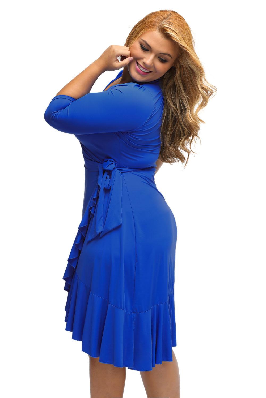 Whimsy Wrap Flounce Plus Size Dress Stage Dance Wear Women Knee