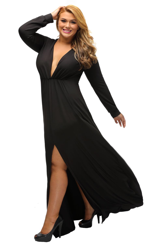 langarm tief v hals plus kleid mit schlitz wenig schwarz b hne tanz tragen kurze ebay. Black Bedroom Furniture Sets. Home Design Ideas