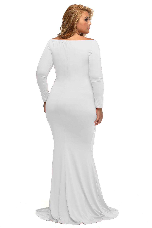 Off Shoulder V Neck Long Sleeve Plus Dress Formal Ceremony