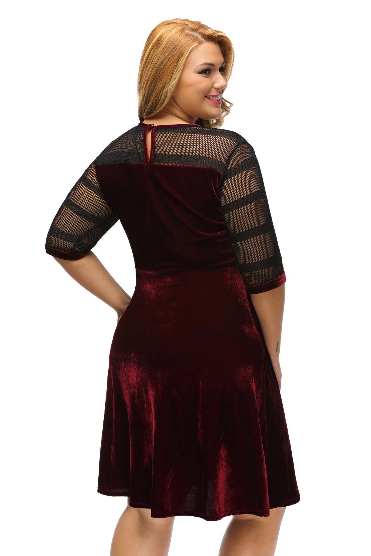 bergr e mesh einf gen velvet swing kleid wenig schwarz b hne tanz tragen ebay. Black Bedroom Furniture Sets. Home Design Ideas