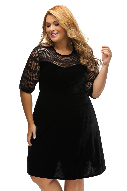 Plus Size Mesh Insert Velvet Swing Dress Little Black Stage Dance