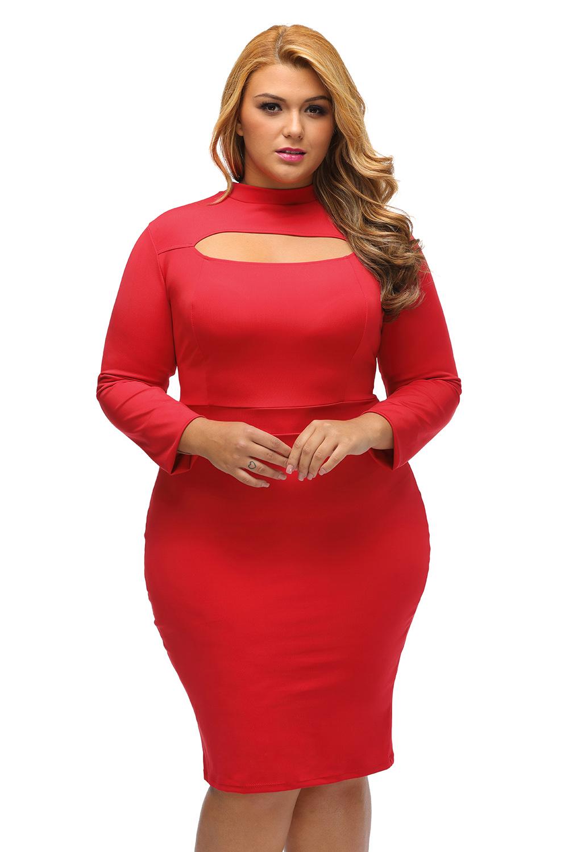 Körpercon Übergröße Schlüsselloch Schwarz Wenig Langarm Rot Kleid qMpLUVSzG