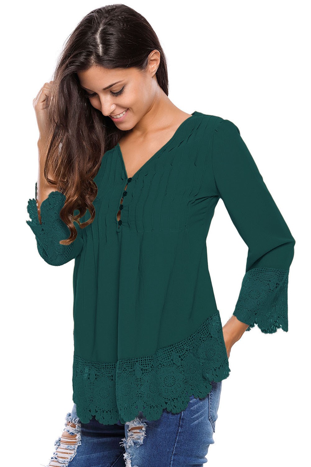 Lace detail button up sleeved blouse womens shirt autumn v for V neck button up shirt